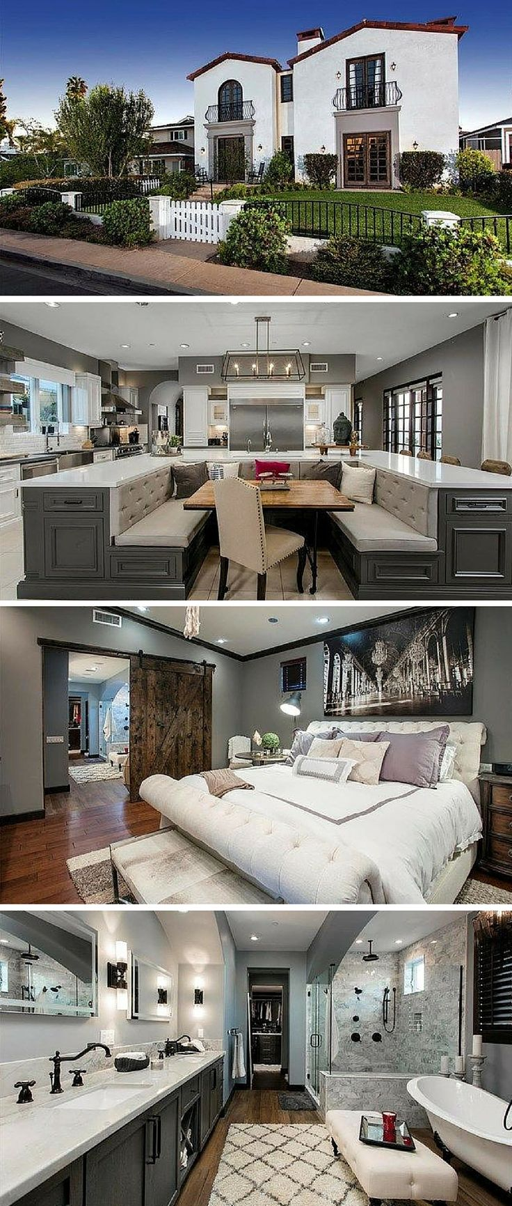 """MLB center fielder Jim Edmonds and his spouse, """"Real Housewives of Orange County"""" star Meghan King Edmonds completely remodeled their five-bedroom, 5.5-bathroom, Mediterranean Revival–style home. Now the kitchen features a U-shaped island with a built-in breakfast nook. Other luxurious aspects of the 5,077-square-foot house include french doors, hardwood floors, high ceilings, and designer lighting throughout."""