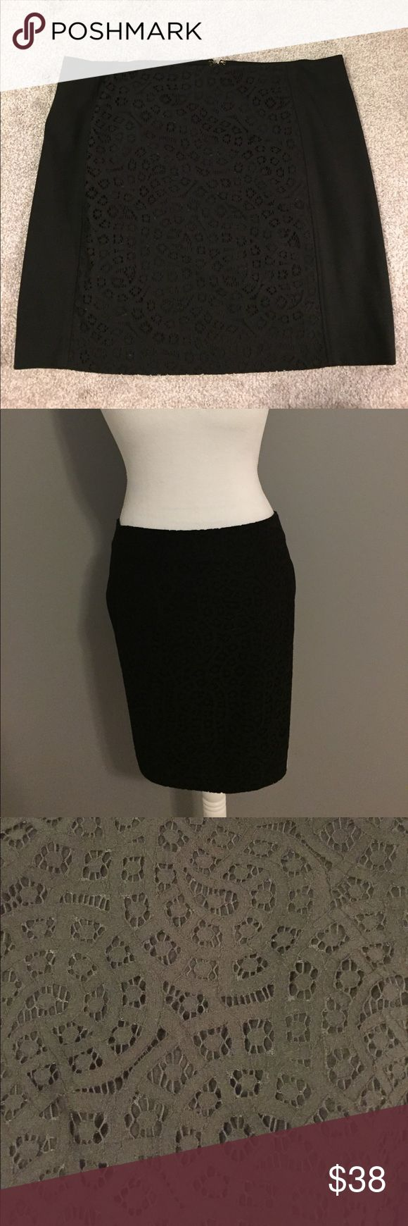 "LOFT: Black Pencil Skirt w/ Lace Detail 18"" black pencil skirt - never been worn!! Zips up the back. LOFT Skirts Pencil"