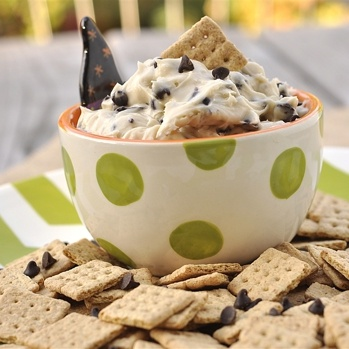 Chocolate chip cookie dip...great with graham sticks, even animal crackers