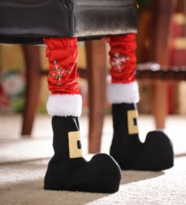 Would be cute on my piano bench.   Santa Boot Chair Leg Cover, Set of 2 | Kirkland's