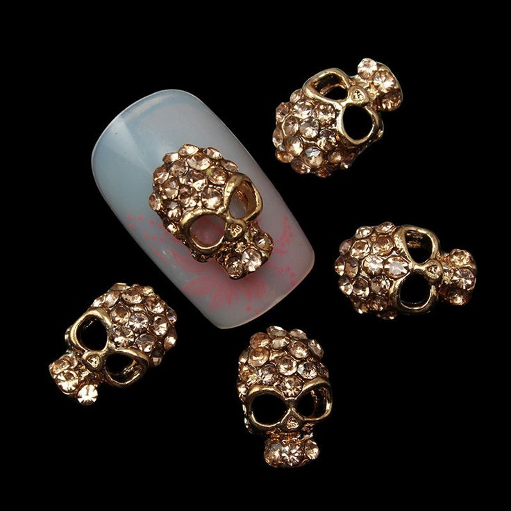 10 in a Pack Rose Gold Skull Nail Art Decorations //Price: $4.15 & FREE Shipping //     #hashtag2