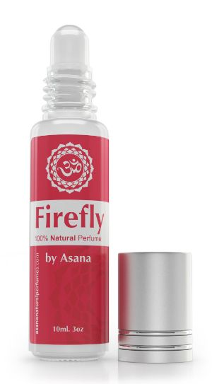 Firefly by Asana is  an all natural roll on perfume oil with the scent of confidence and will help you feel grounded and sexy.  Asana natural perfumes are aroma therapeutic and yoga inspired, handmade with pure essential oils.  10 ml glass roll on perfume oil with 100% pure essential oils, made by an artisan perfumer in Canada. AROMA      Head notes of magnolia     Heart notes of howood     Soul notes of patchouli, labdanum