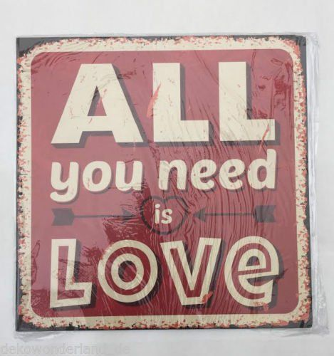 Blechschild Dekoschild Schild All you need is Love Retro Hochzeit Liebe 30x30cm dekowonderland http://www.amazon.de/dp/B00O48GPW6/ref=cm_sw_r_pi_dp_Dy8Qub0ET4A7T