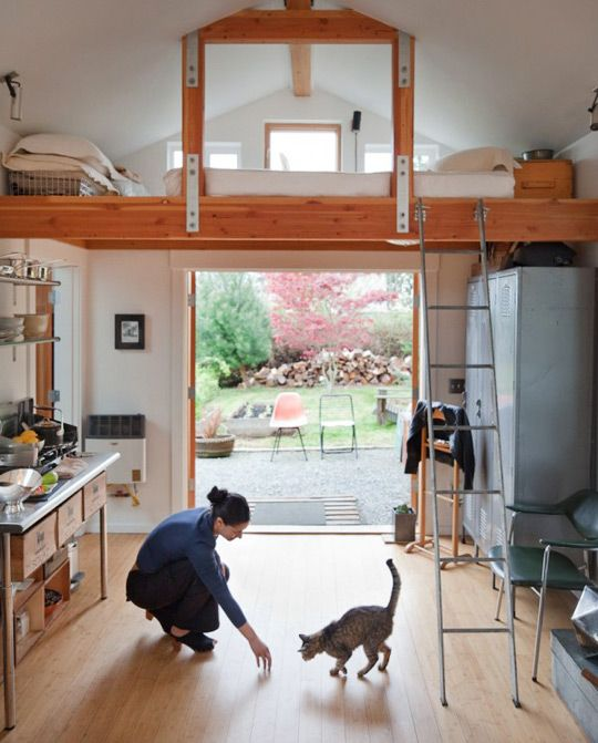What can you do with a 250 square foot garage? Well, Seattle-based artist, designer, and welder Michelle de la Vega managed to turn it into a functional, practical, and adorable little house. Take a look at what she created! Interior 1