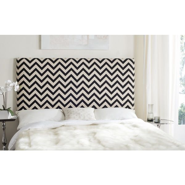 Featuring graphic chevron printed black and white upholstery in a cotton and linen blend, this dramatic queen size headboard will instantly transform a bedroom with hip modern style. Its rectangular silhouette counterpoints the strong graphic pattern.