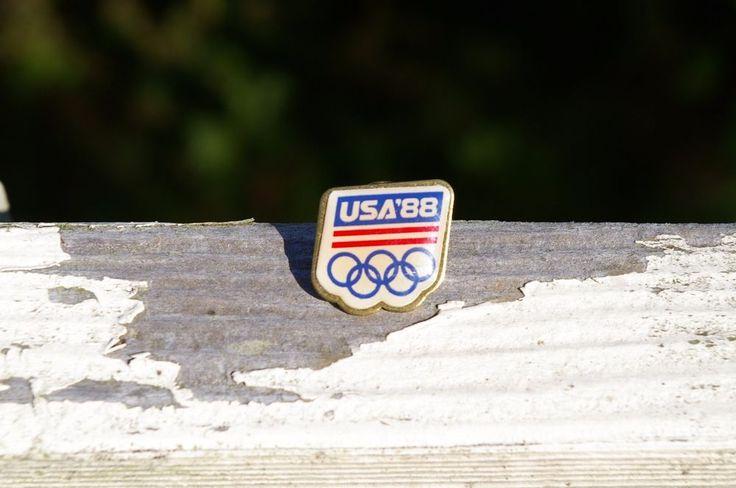 USA '88 1988 Olympic Rings Red White & Blue Metal Lapel Pin Pinback    eBay