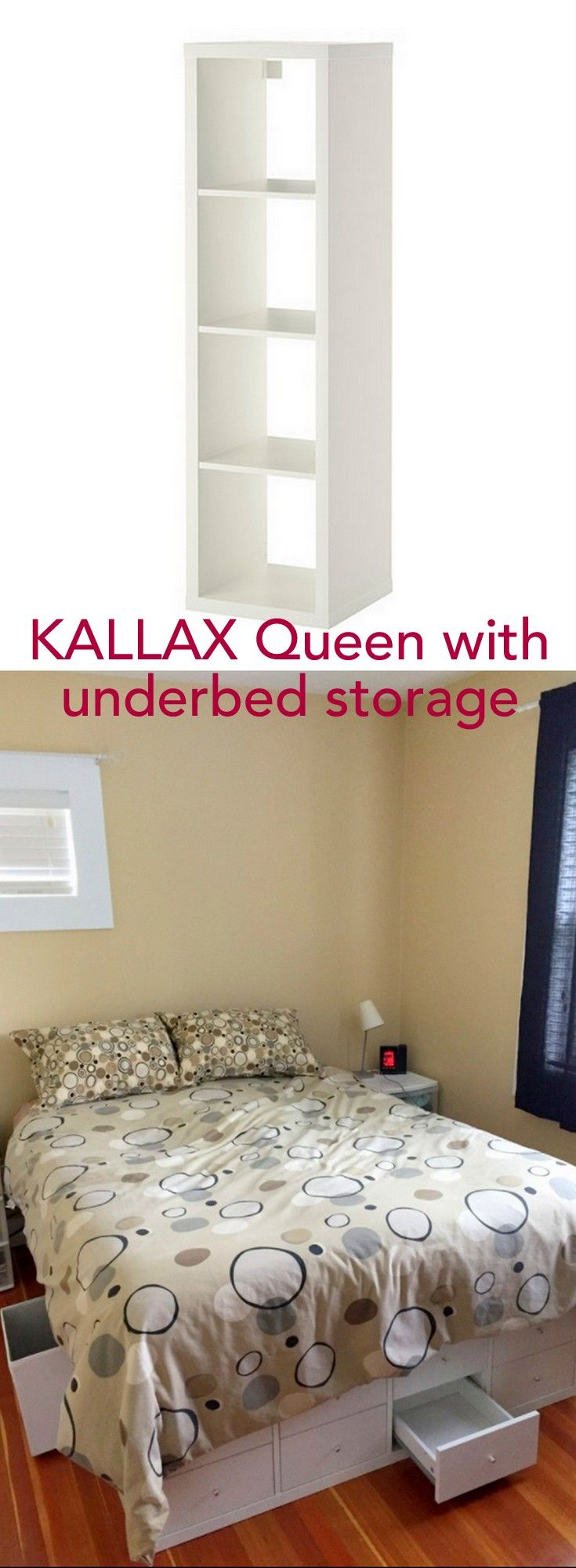 12 cubbies for storage under the bed. Yay! http://www.ikeahackers.net/2017/05/ikea-kallax-queen-storage-bed.html