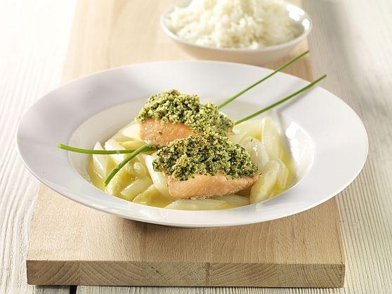 Das leckere Rezept für Lachsfilet mit Kräuterhaube im SpargelsudRezepte und weitere Diät Rezepte entdecken auf precon.de