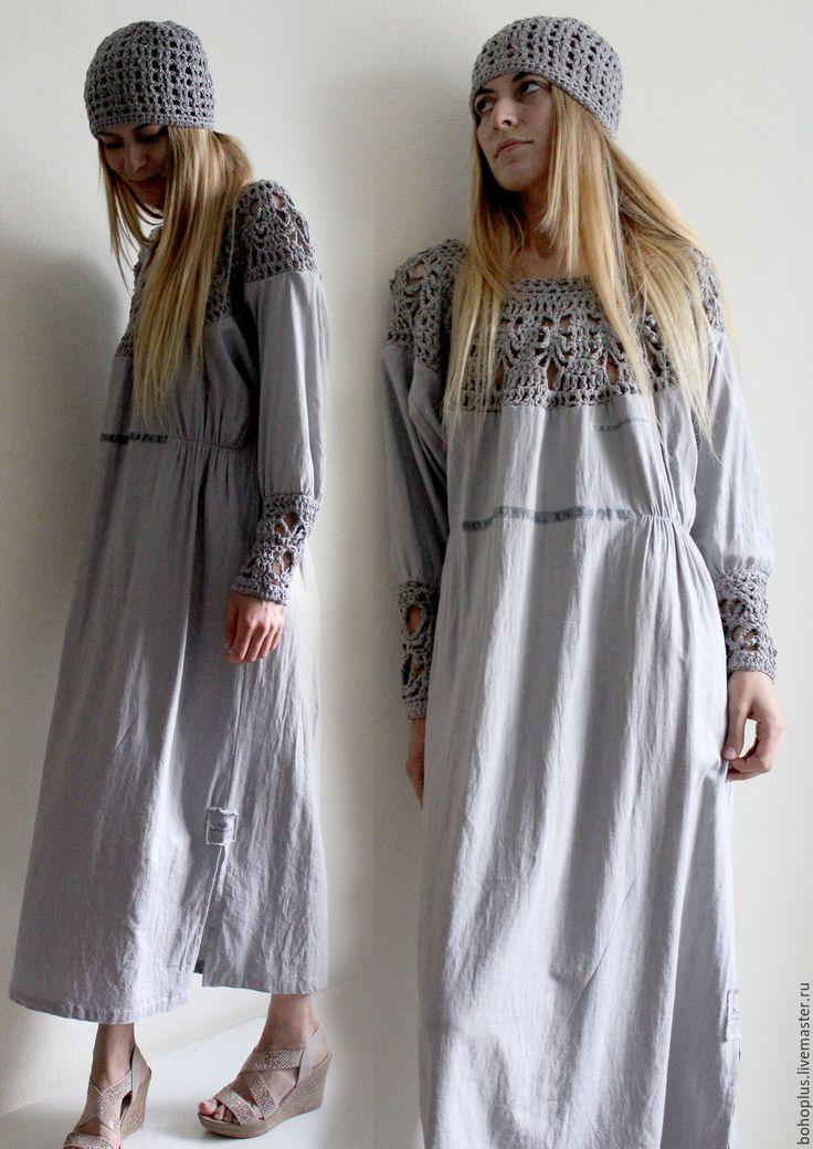 Купить или заказать Платье из тонкого льна 'Серафима серебряная' в интернет-магазине на Ярмарке Мастеров. Серафима, ты звал меня по имени. Не ведая ни дней, ни времени. Любил меня неистово, Желая моей истины. А я молчала... Зарезервировано... Ах как же оно хорошо это боховское по боховски платье, из люксового светлого льна с красивой мятостью после стирки. Вязаные детали связаны из хлопковой пряжи. Для любительниц таких вещей умение их носить это природа. Шапочка в комплекте с платьем...