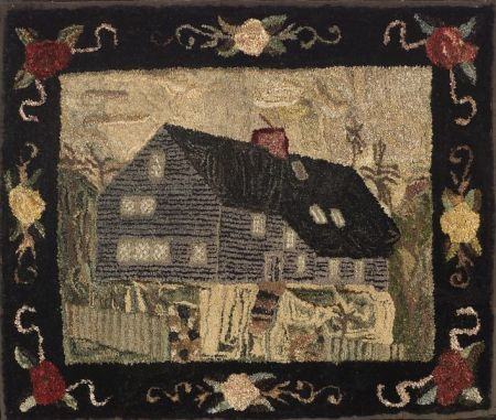 Wool, Cotton, and Silk Log Cabin Hooked Rug | Sale Number 2290, Lot Number 702 | Skinner Auctioneers