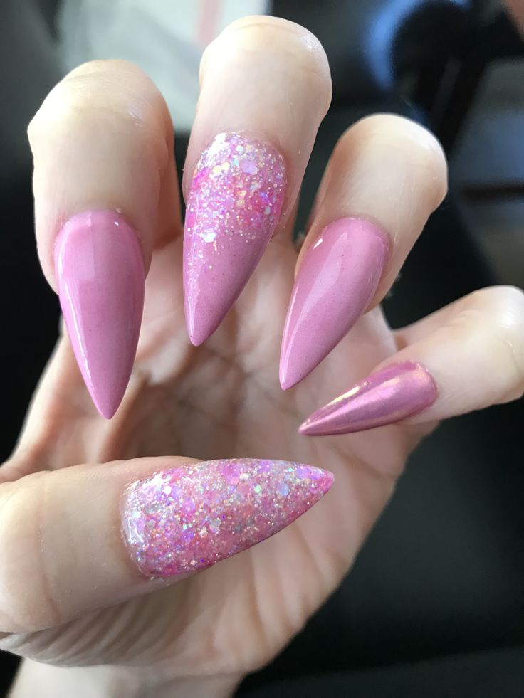 Pink stiletto nails acrylic  Nails By Lourdes Merced Ca 209 pink glitter chrome pink