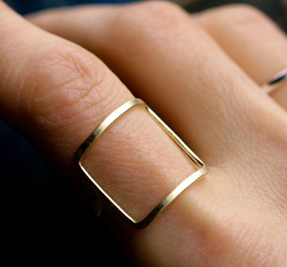 moderne anneau Carré or argent carré anneau moderne par museglass