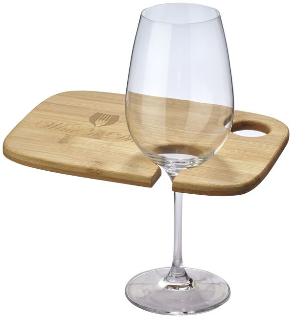 Miller wine and dine appetizer plate. Helping you and your guests to mingle at your next event. The plate features a handy wine glass holder on one side so you can always keep one hand free to enjoy your food and drinks. It also features a useful insert which is perfect for letting your thumb grip your plate. Presented in a Seasons gift box. Bamboo.  #promotional #merchandise #branding #advertising #promotionalproducts #design #lovemerch hello@giftfinder.uk.com