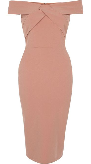 On SALE at 55% OFF! light pink bardot bodycon midi dress by River Island. Stretch crepe Bodycon fit Off-the-shoulder bardot neckline Pencil skirt Midi length Zip back fastening Our model wear...