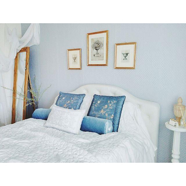 女性で、3LDKのボタン留め/ベッド/マンション/DIY/ザラホーム/アンティーク風…などについてのインテリア実例を紹介。「寝室別アングル」(この写真は 2015-07-26 16:41:39 に共有されました)