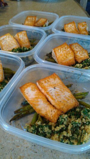 """FROM """"FRIEND THAT COOKS"""" BLOG POST.  Pan seared salmon fillets with lemon and kale quinoa and balsamic glazed green beans. Friend That Cooks personal chefs prep healthy meals each week for families with busy schedules, special dietary..."""