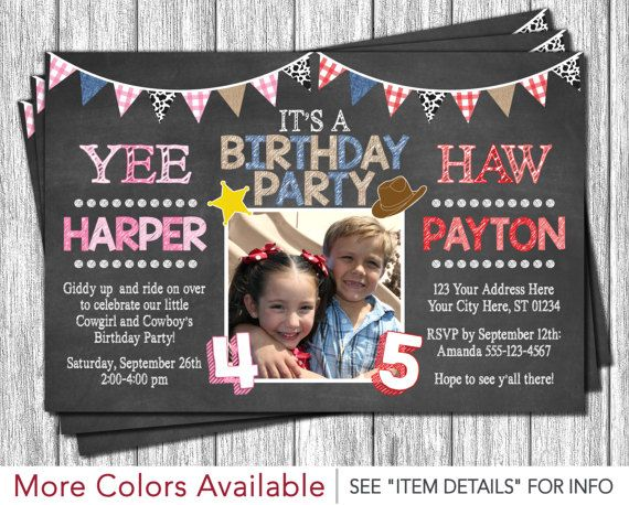 Cowboy and Cowgirl Birthday Invitation - Western Birthday Invitation Cowboy Invitation Cowgirl Invitation by PuggyPrints