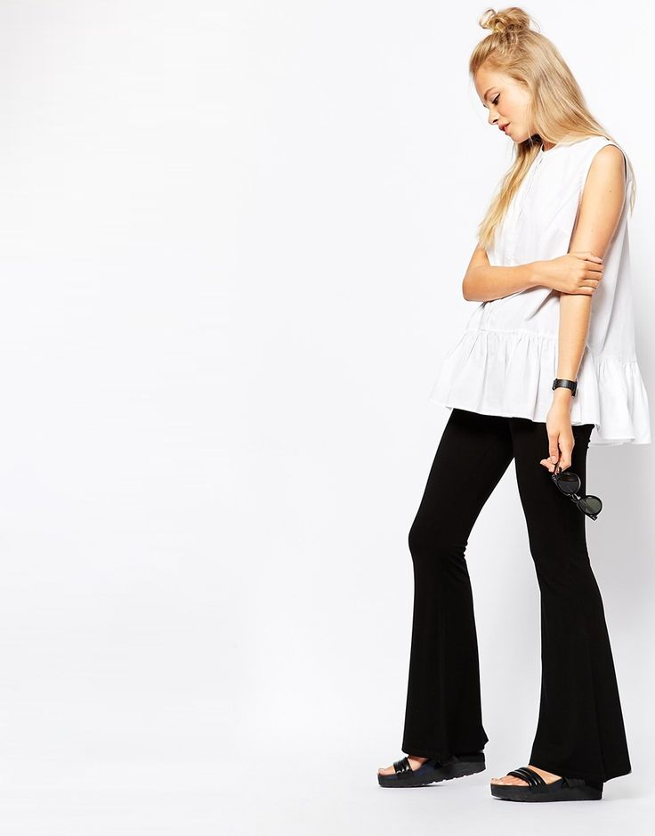 Image 1 ofMonki Jersey Flare Trouser