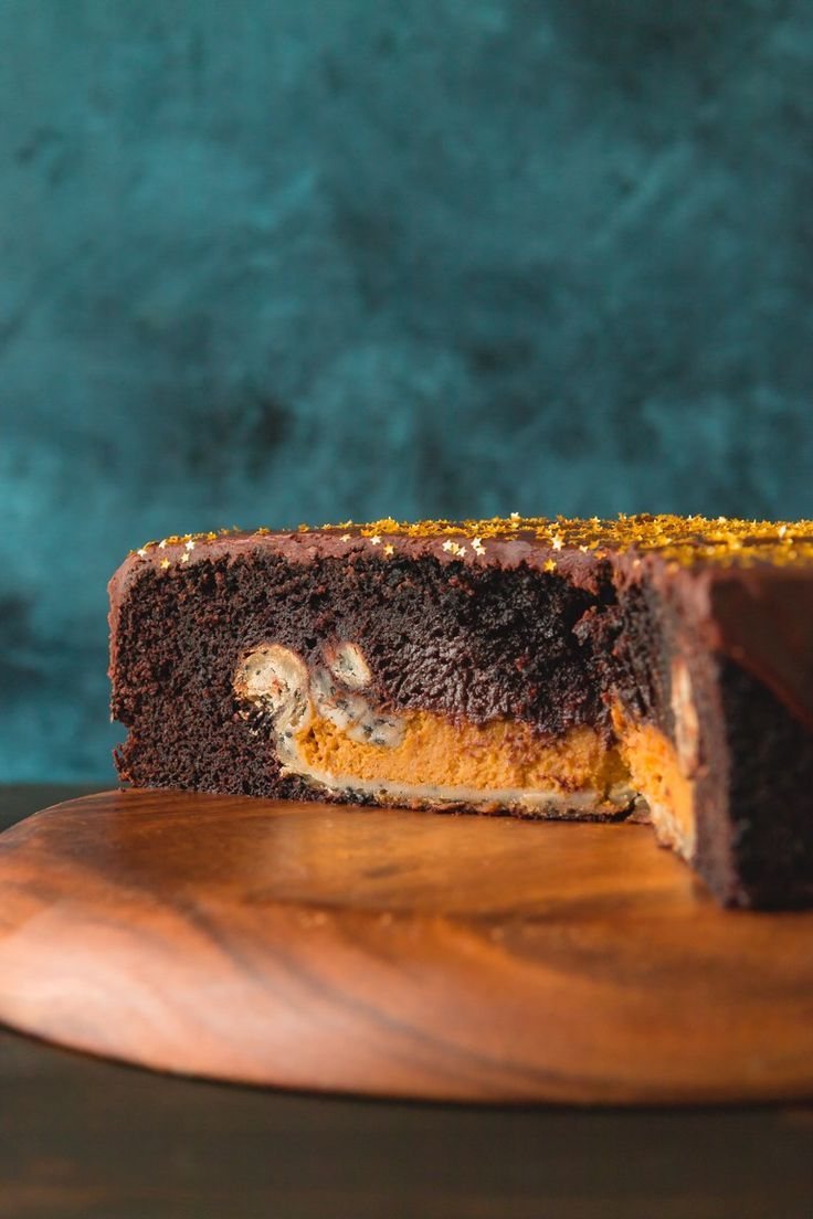 Chocolate Cake with Pumpkin Pie Surprise