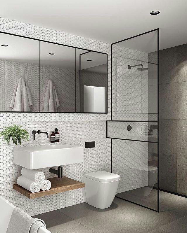 Contemporary bathroom black hardware