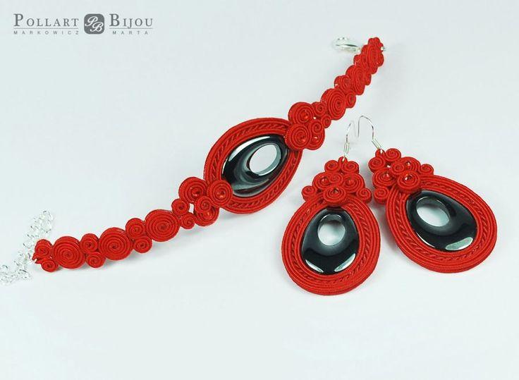 Red soutache set, orecchini soutache, soutache bilateral, boucles d'oreilles soutache, Valentine's ,soutache bracelet and earrings by PollartBijouSoutache on Etsy