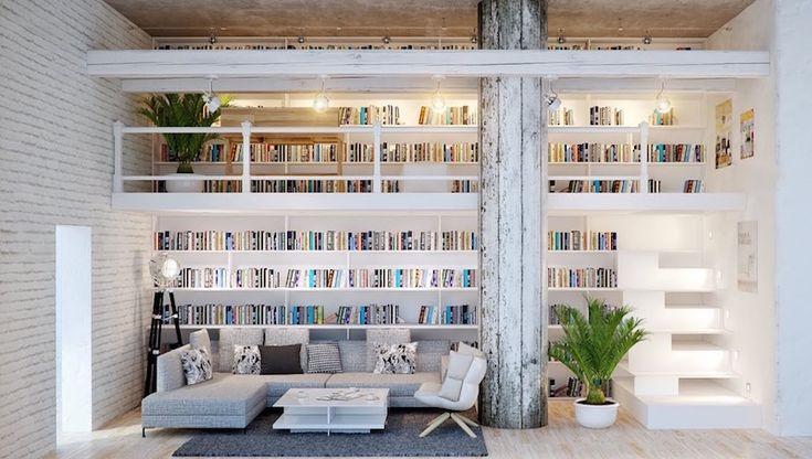 bibliothèque déco blanche en mezzanine avec escalier à marches lumineuses