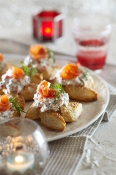 Puff pastry smoked salmon stars, Finnish delicious food