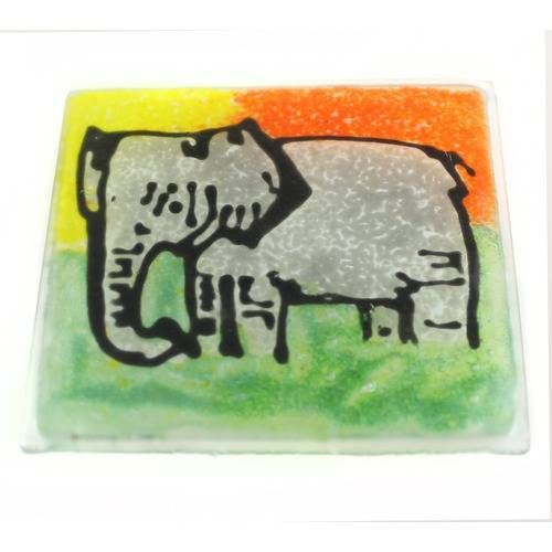 Reclaimed Glass Coaster, Elephant Design, by Springy Crafts, Glass - £5.33 Handmade from reclaimed materials