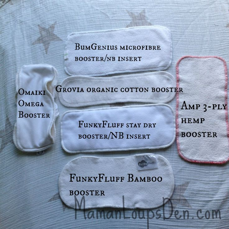 Find out about the different types of cloth diaper boosters and how to use them! GroVia, Funky Fluff, BumGenius, Omaiki & AMP make different booster types.