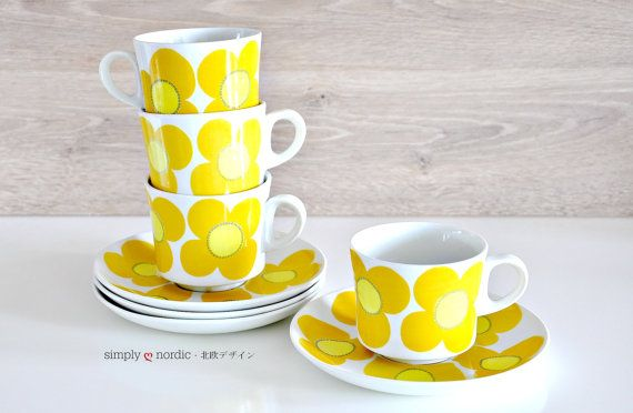 RESERVED: Vintage Cup Saucer Yellow Flower Aurinko Esteri Tomula Arabia Finland on Etsy, $397.16