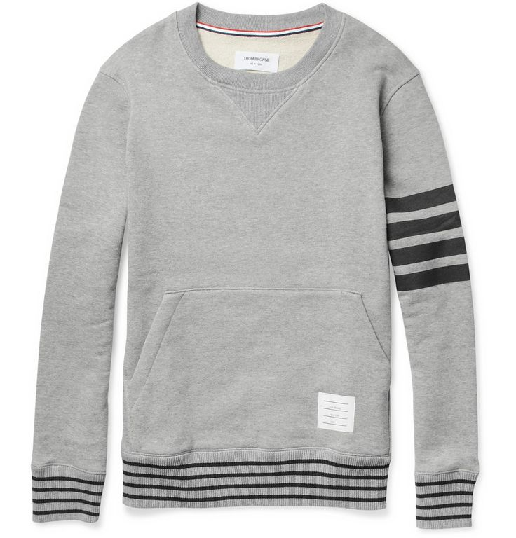 Thom Browne Stripe-Print Loopback-Cotton Sweatshirt   MR PORTER  If you're gonna wear a sweatshirt, wear one like this that has some interest to it.