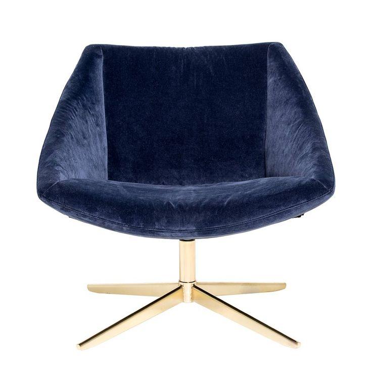 Blå Lenestol - Dette er en lenestol som både er elegant og moderne. ELEGANT lenestol har en fin kontrast mellom gulldetaljene på sokkelen mot det myke polst