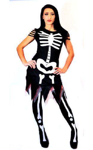 Aprils Ladies Halloween Skeleton Fancy Dress Costume Adult (L - UK Size 16-18, Cinders) @ £19.99