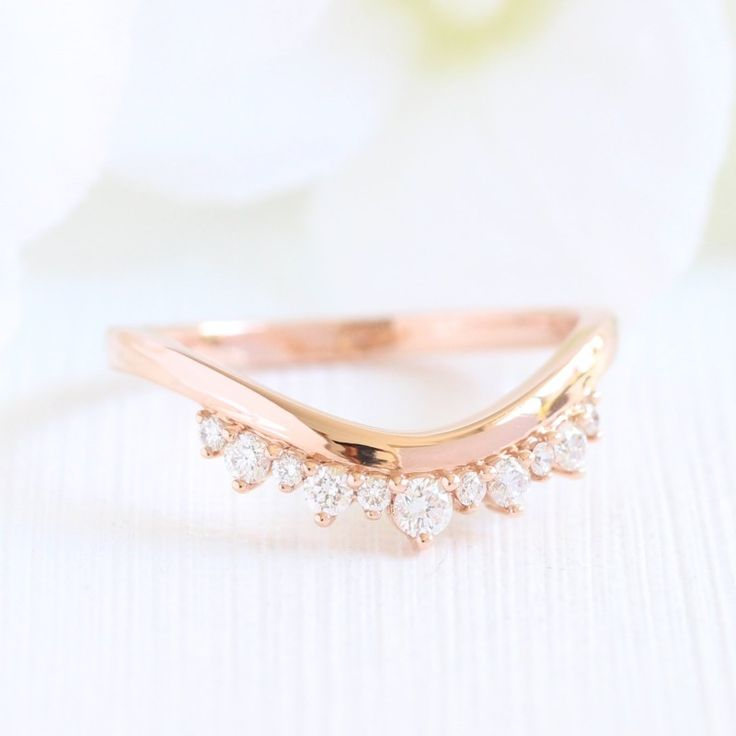 Crown Diamond Ring In Rose Gold Curved Plain Band By La More Design NYC