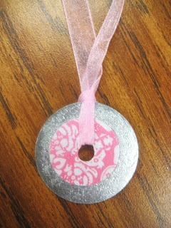 Washers, ribbons, and scrapbook paper necklace for Mother's Day