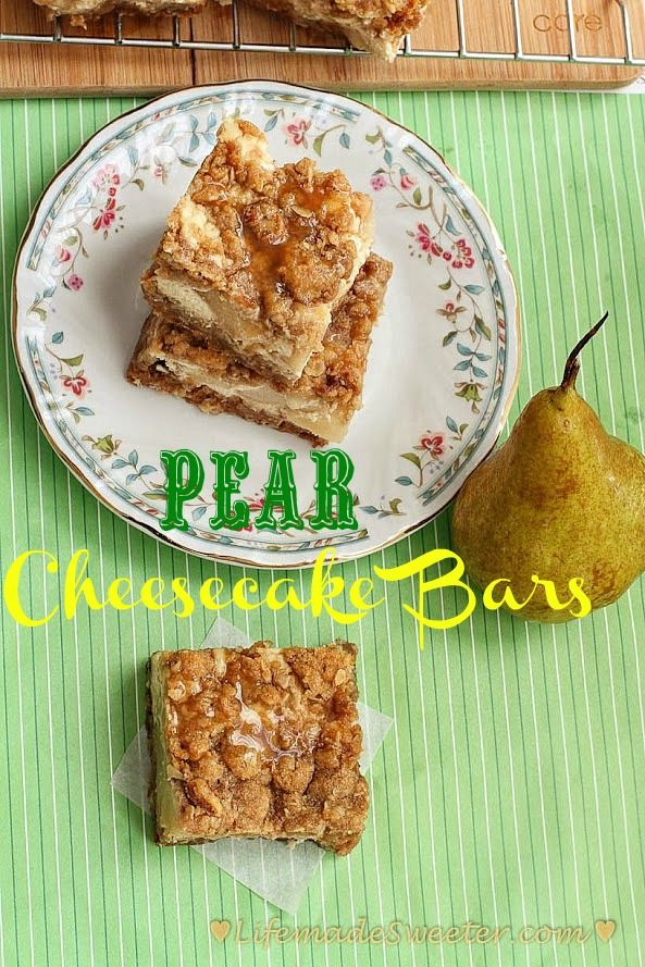 Best pear cheesecake bars made with salted caramel. So addictive & ridiculously GOOD! Easy oatmeal streusel & crust. Can also use apples - perfect for parties.