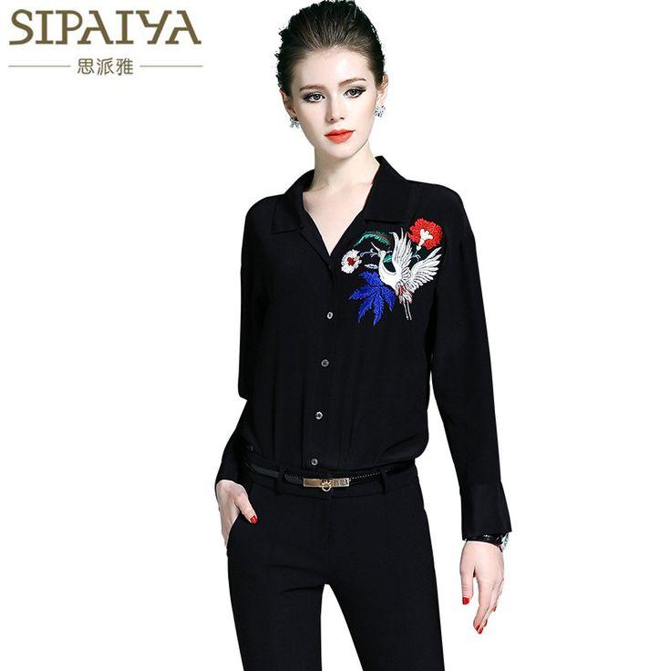 SIPAIYA 2017 Spring Summer Luxury Pure Silk Blouse Womens OL V Neck High Quality Embroidered Silk Blusas feminino
