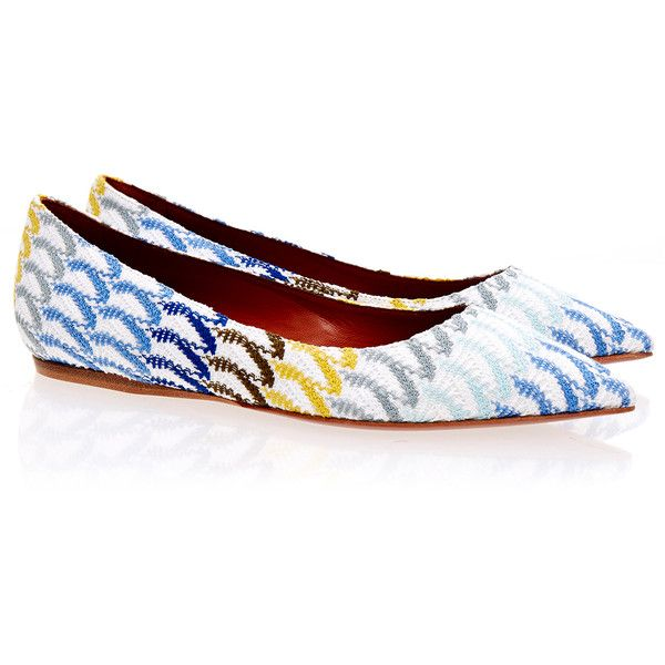 Missoni Crochet-Knit Multi Coloured Ballet Pump (740 RON) ❤ liked on Polyvore featuring shoes, pumps, orange, multi color shoes, slip on shoes, ballerina shoes, crochet shoes and ballet pumps