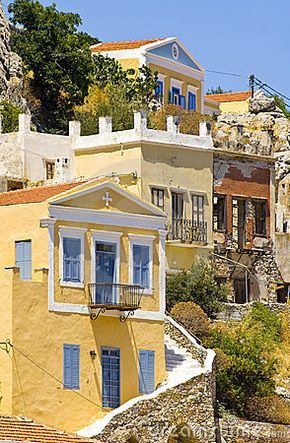 Colourful houses in Symi island - Greece