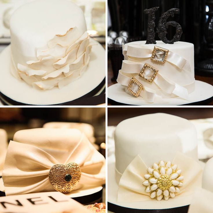 Several Chanel inspired cakes in a birthday party. The jewels and numbers in the cakes are made from sugar.. everything edible!