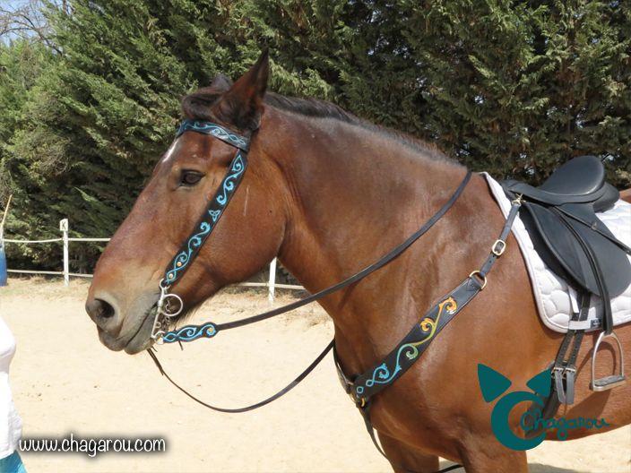 Bridon et collier de chasse Chagarou, couture point sellier et boucles en laiton. Réalisé sur commande. #bridon #cheval #cuir #équitation