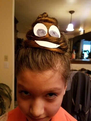 Crazy hair day...poop emoji