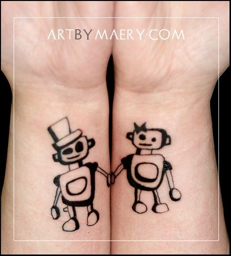 10 Awesome and Romantic Couples' Tattoos my favorite is the robots