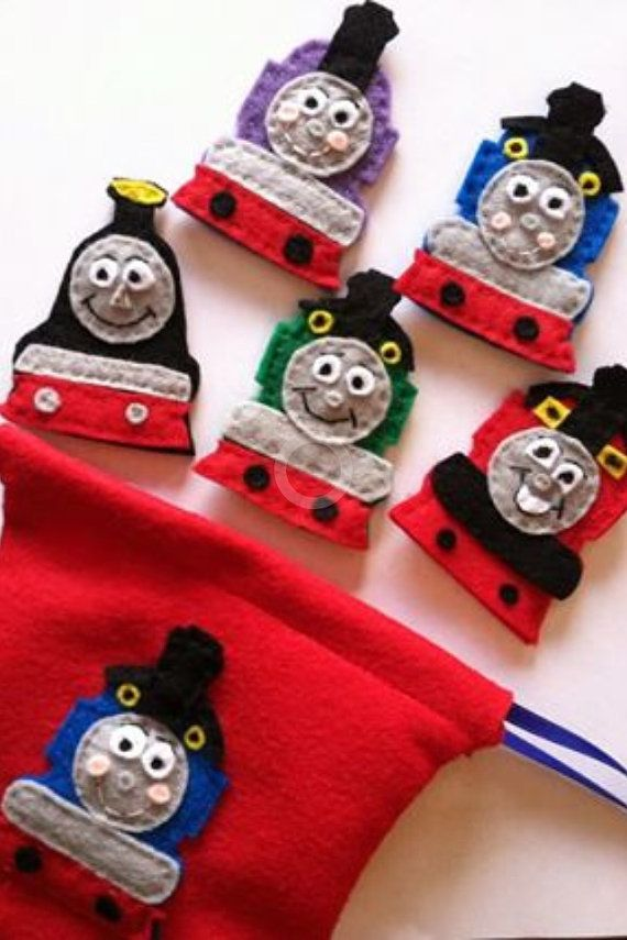 Thomas the Train Inspired Felt Finger Puppets on Etsy, $13.81 AUD