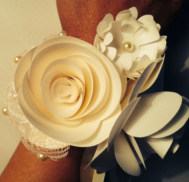 Paper flower corsage. By MiaBella paper flower producions! great for a bride or a prom!