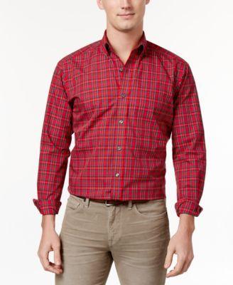 Club Room Men's Estate Classic/Regular Fit Plaid Dress Shirt, Only at Macy's - Green 15.5 32/33