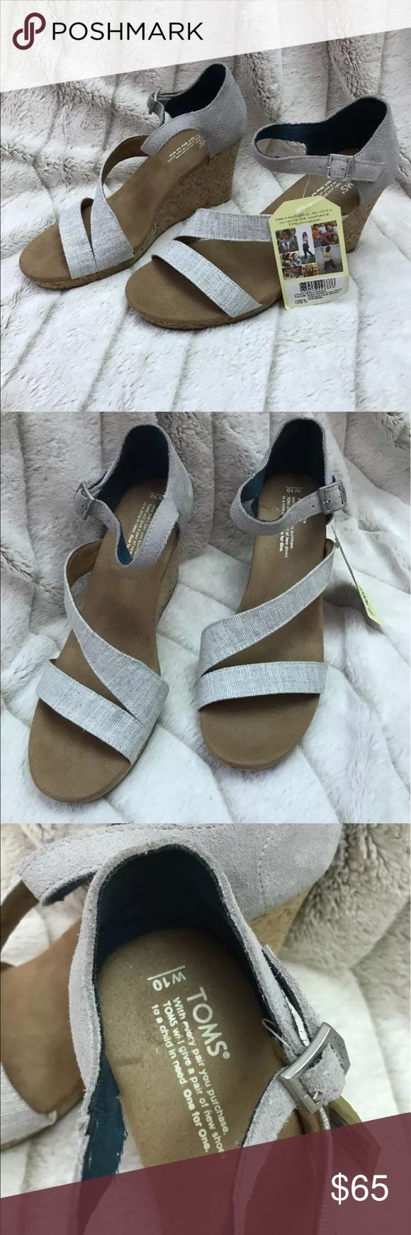 TOMS Women's White Linen Chevron Cork Wedges Clarissa style Brand new shoes never worn. The heel strap is suede These shoes are beautiful! TOMS Shoes Wedges