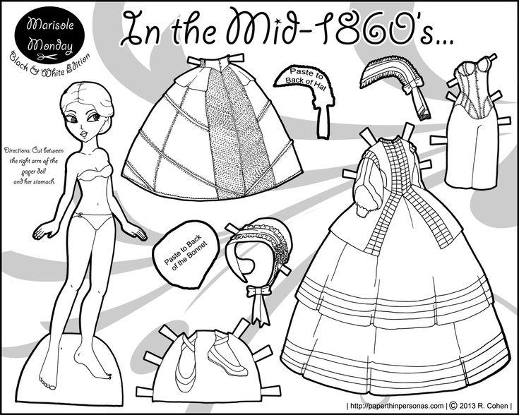 civll war printable paper doll marisole monday coloring paper dolls paper dolls printable. Black Bedroom Furniture Sets. Home Design Ideas