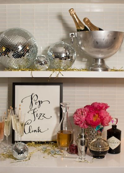 Champagne Bar  New Year's Eve Party with Kate Spade   Camille Styles