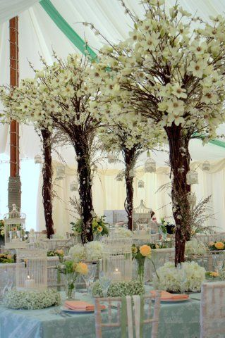 Styling Of A Traditional Marquee Using Flower Trees From Essential Wedding Hire Chair Slips